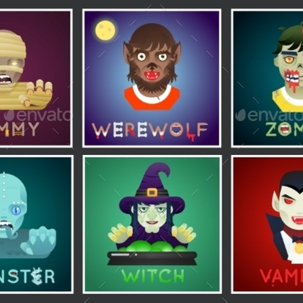 Halloween Party Monster Role Character Bust Icons