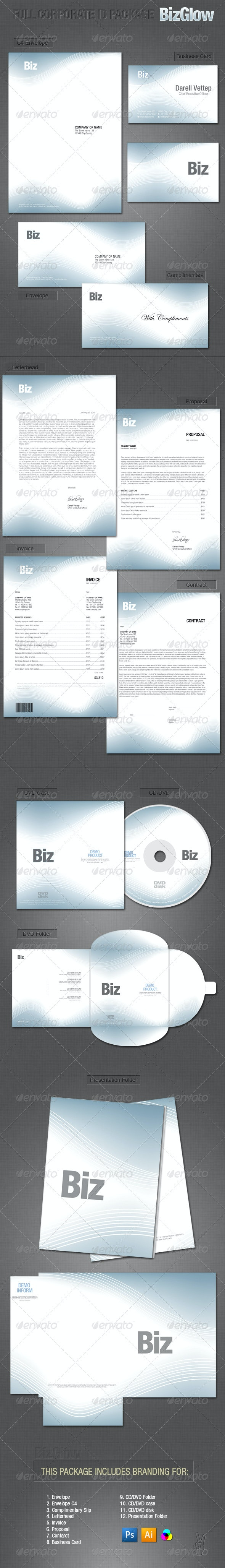 FULL CORPORATE ID PACKAGE - BIZGLOW - Stationery Print Templates