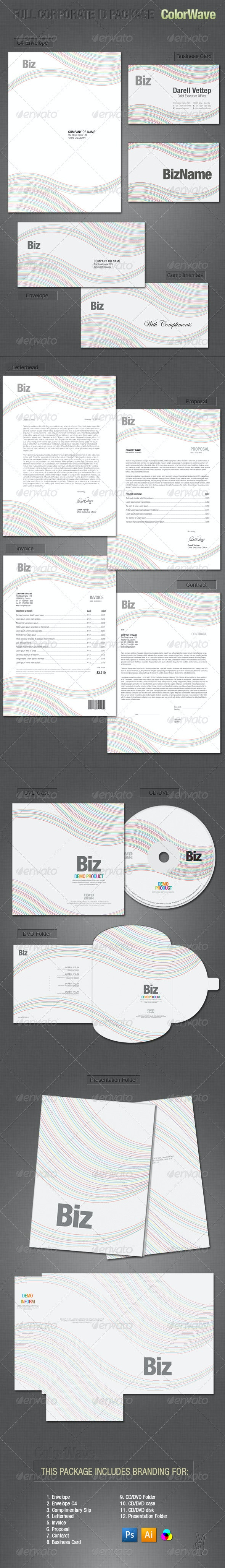 FULL CORPORATE ID PACKAGE - COLORWAVE - Stationery Print Templates