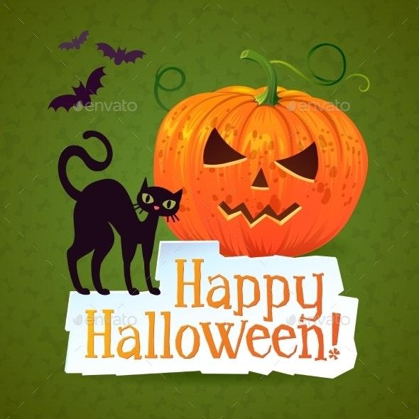 Happy Halloween Pumpkin Greeting Card - Halloween Seasons/Holidays