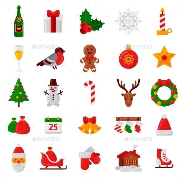 Set Of Flat Christmas Icons.