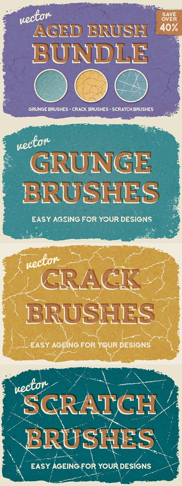 Aged Vector Brush Bundle - Brushes Illustrator