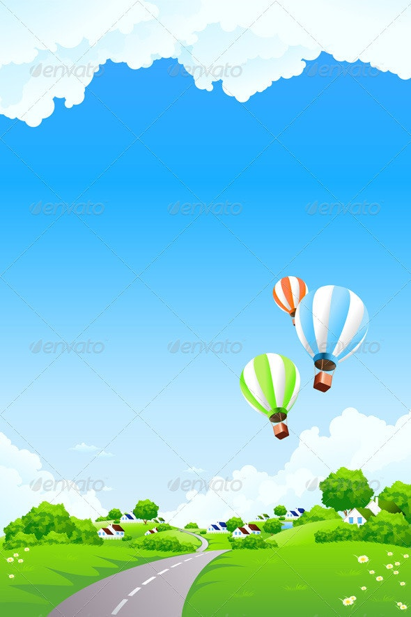 Summer Landscape with Balloon - Landscapes Nature
