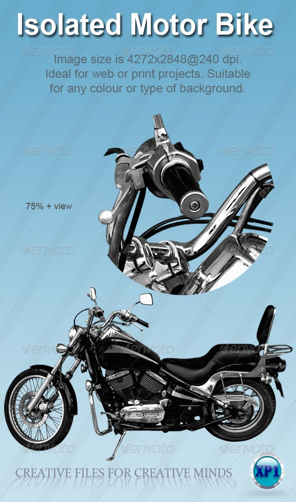 Large cc Black and Chrome Motorcycle/Bike - Miscellaneous Isolated Objects