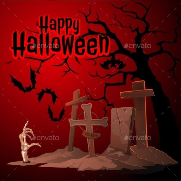 Cemetery and Zombies Happy Halloween