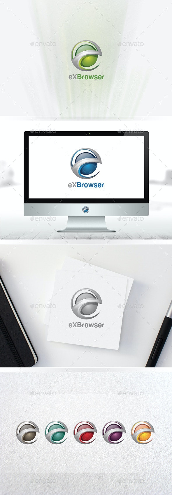 3D e Logo / Global E Circle / Letter E / e Learning / Logo Templates - Logo Templates