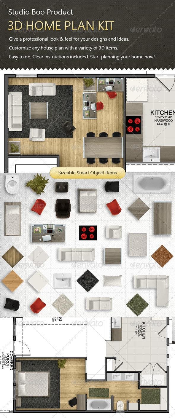 3D Home Plan Kit - Miscellaneous Product Mock-Ups