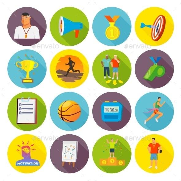 Coaching Sport Icons Flat