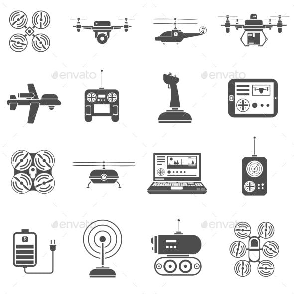 Drones Black White Icons Set