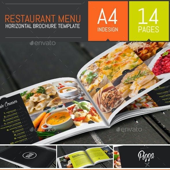 Food Restaurant Menu Brochure / Bi-Fold Template