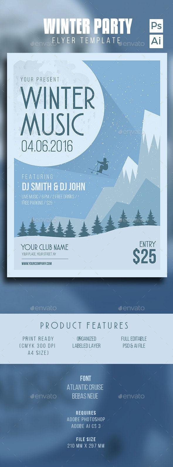 Winter Music Party - Flyers Print Templates