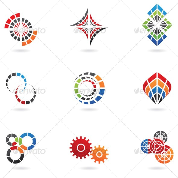 colourful cog icons