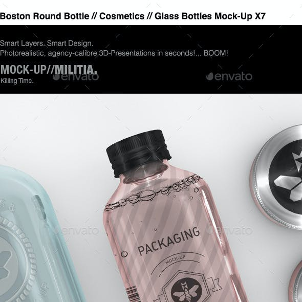 Cosmetics Mock-Up | Boston Round Bottle Mock-Up