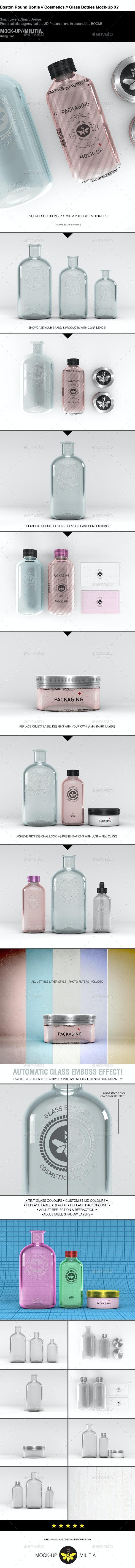 Cosmetics Mock-Up   Boston Round Bottle Mock-Up - Beauty Packaging