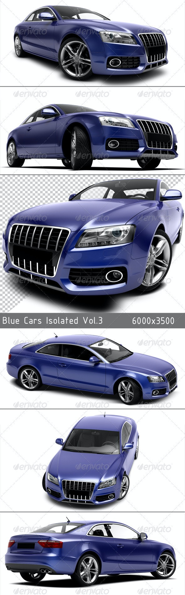 Blue Cars Isolated VOL.3 - Objects 3D Renders