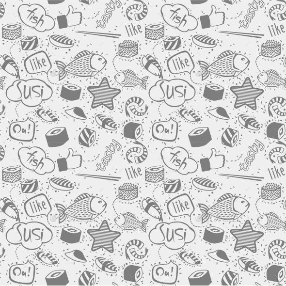 Sushi and Rolls Pattern