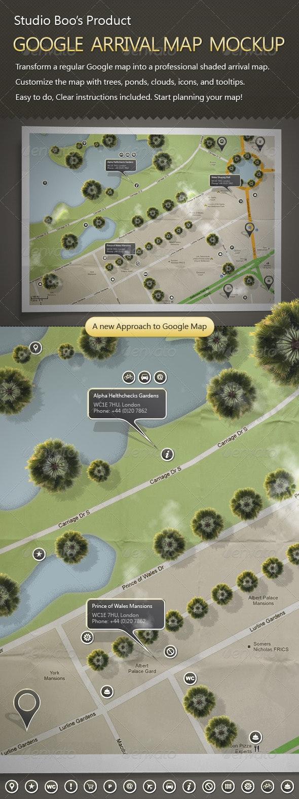 Google Arrival Map Mock-up - Miscellaneous Print