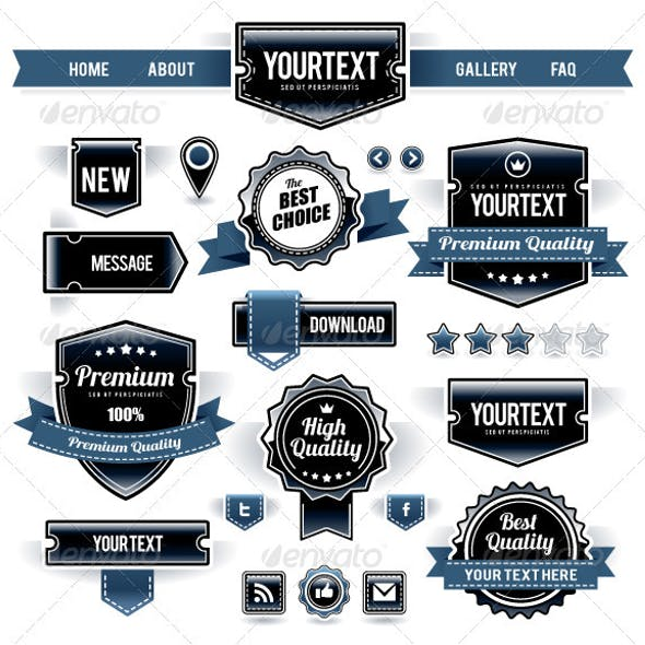 Vector Set of Retro Labels, Buttons and Icons