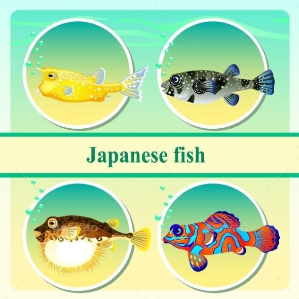 Set Of Four Japanese Sea Fish