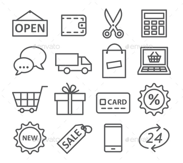 Shopping Line Icons - Miscellaneous Icons