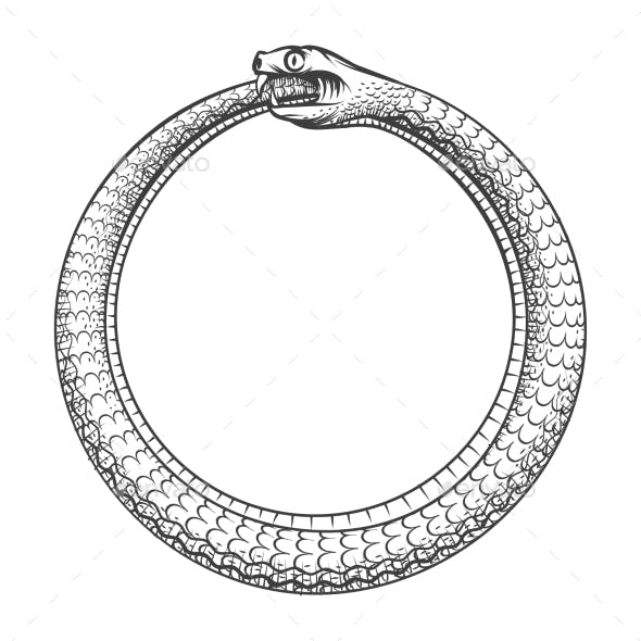 Magic Symbol Of Ouroboros. Tattoo With Snake