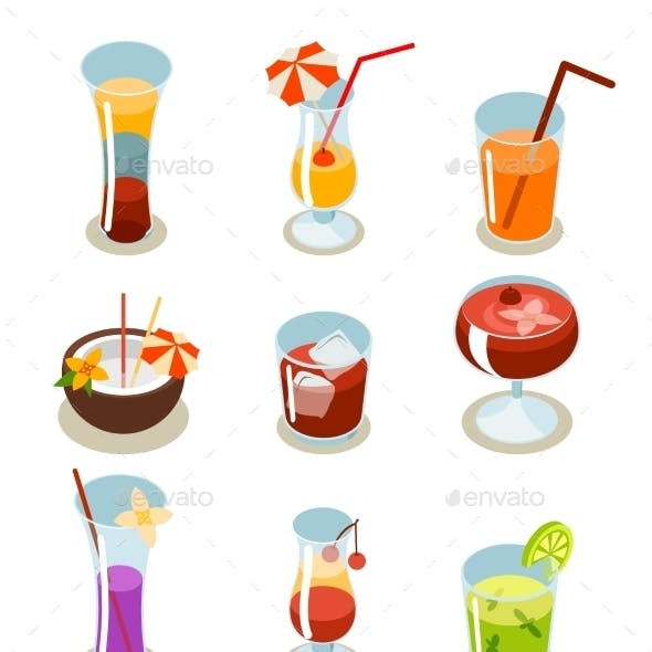 Cocktail Icons Isometric Illustration