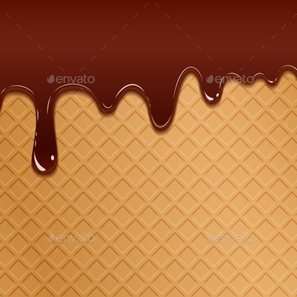 Flowing Chocolate On Wafer Texture
