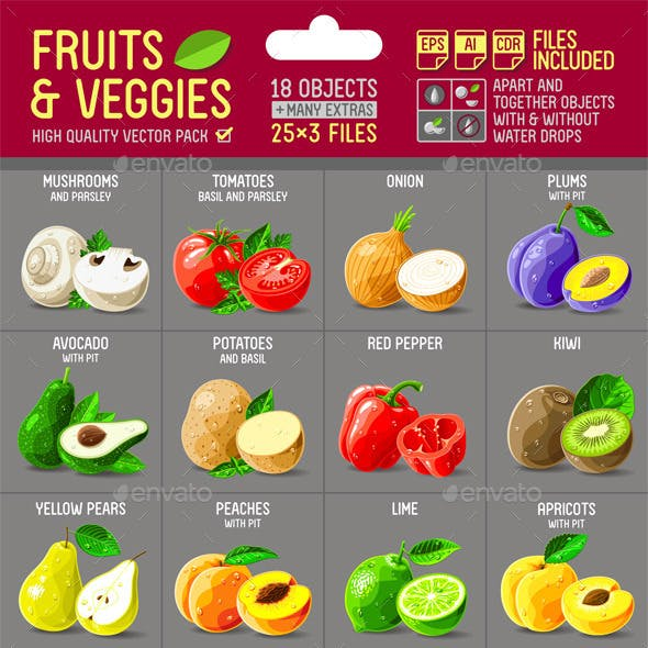 Fruits and Veggies Illustrations Pack