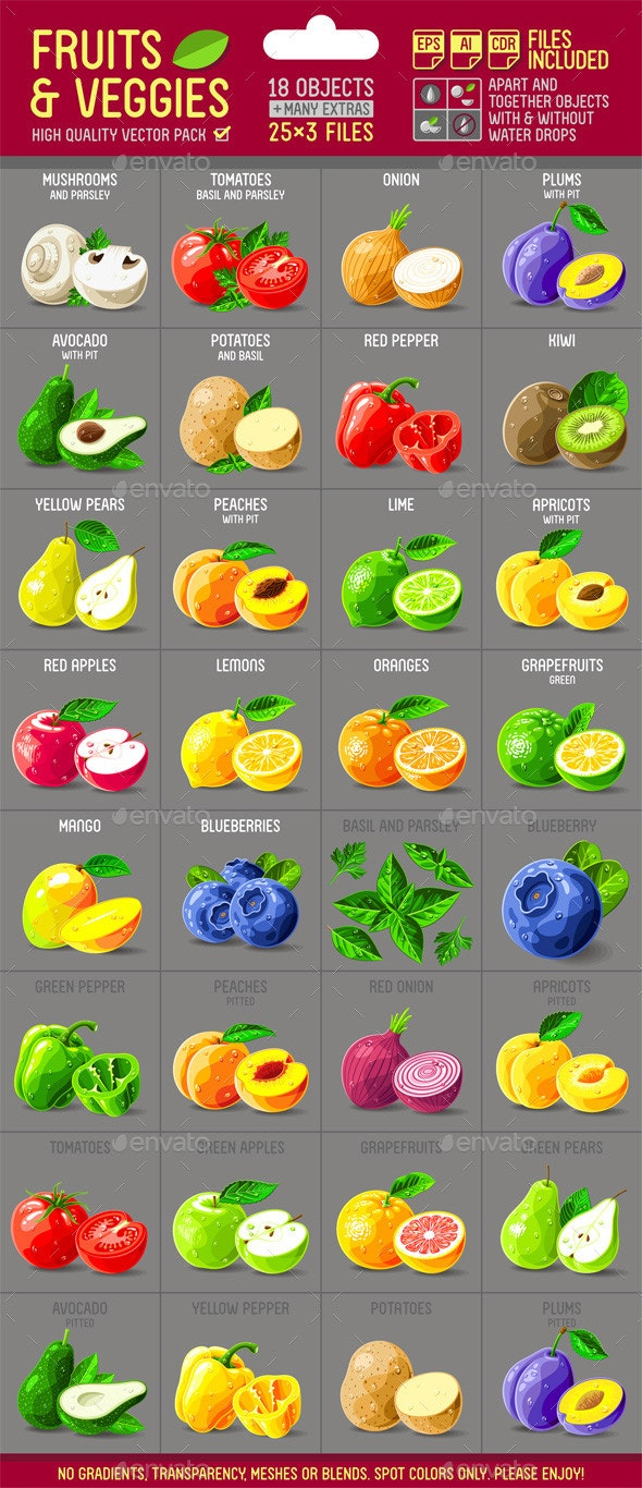 Fruits and Veggies Illustrations Pack - Food Objects