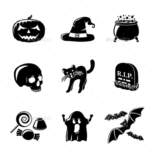 Set Of Monochrome Halloween Icons -Pumpkin, Witch