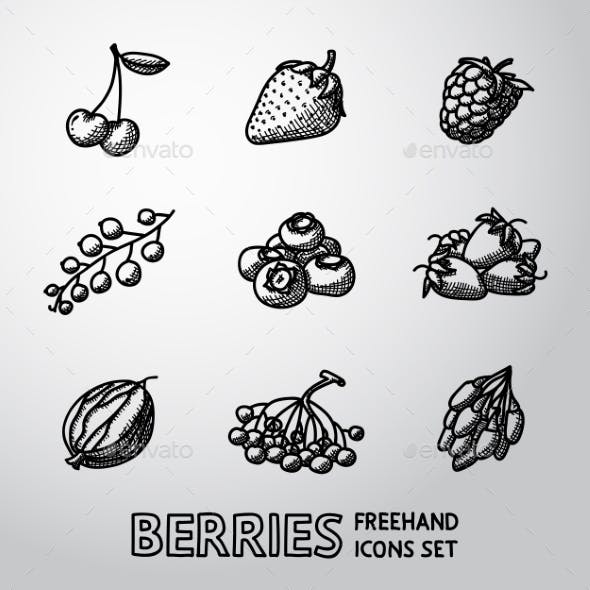 Set Of Freehand BERRIES Icons - Cherry, Strawberry