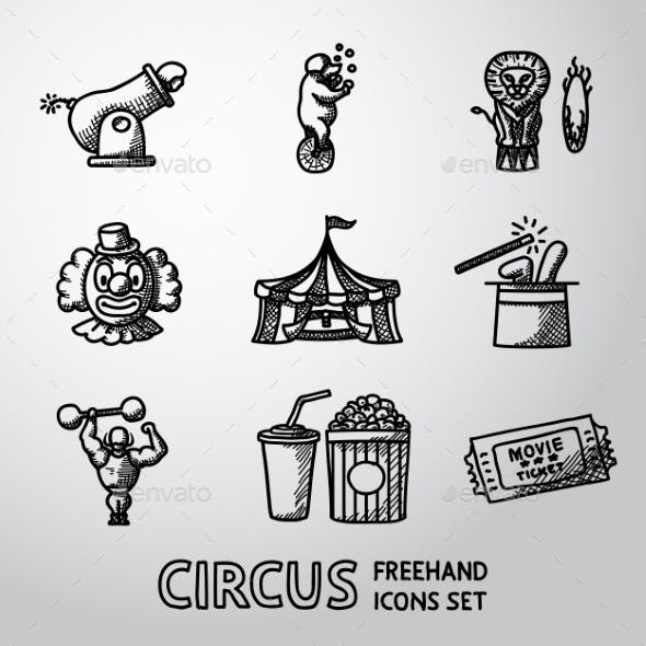 Set Of CIRCUS Freehand Icons With - Clown, Cannon
