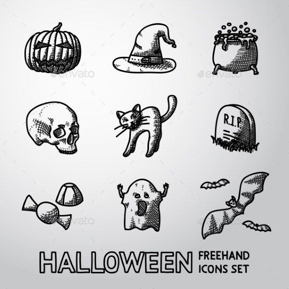 Set Of Freehand HALLOWEEN Icons -Pumpkin, Witch - Icons