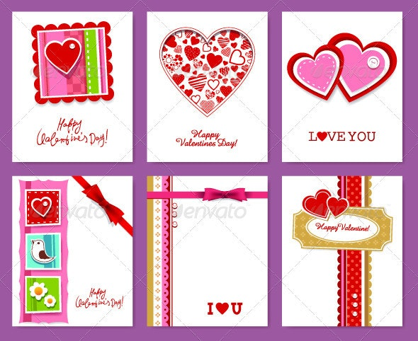 Vector set of valentine's day cards - Valentines Seasons/Holidays