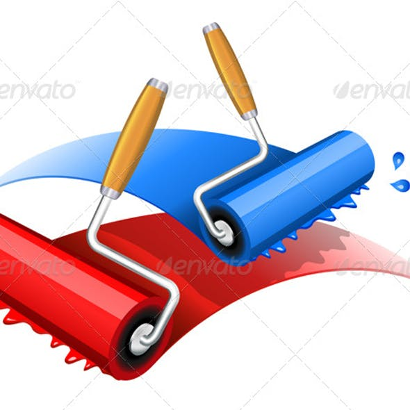 Painting red and blue