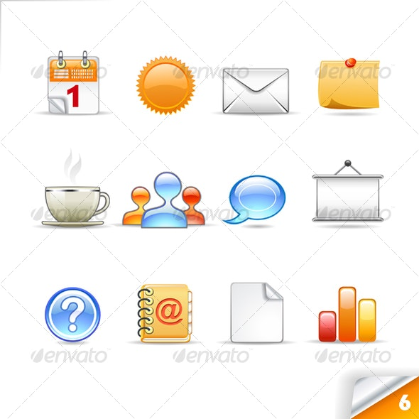icon set n°6  - office theme - infinity series  - Web Icons