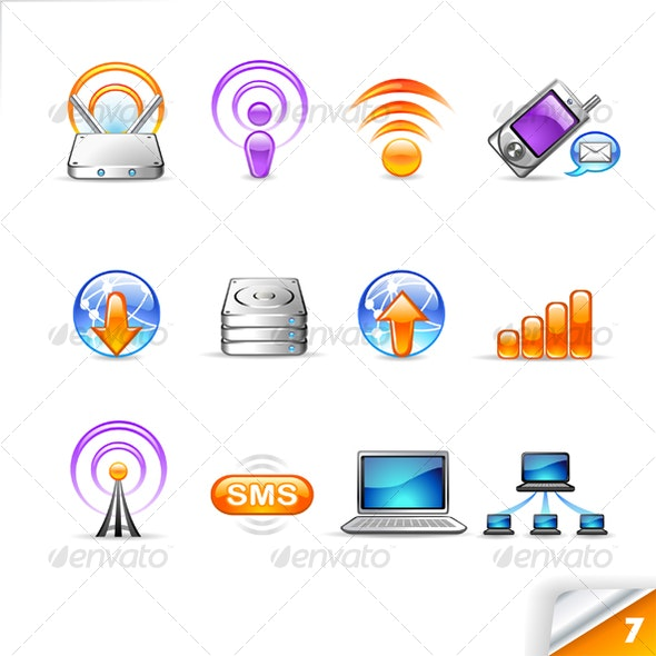icon set n°7  - network theme - infinity series - Technology Icons