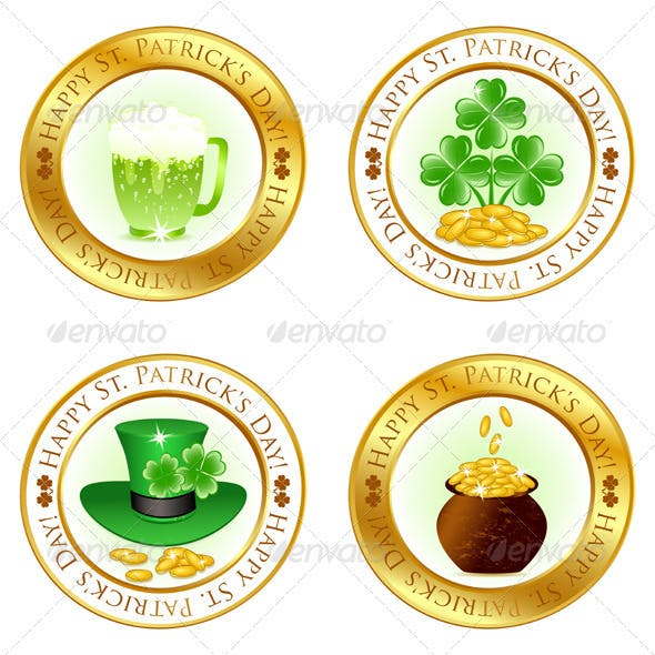 Set of Four Glossy Icons