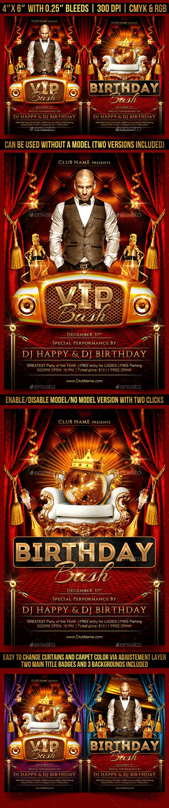 VIP Bash Flyer Template - Clubs & Parties Events