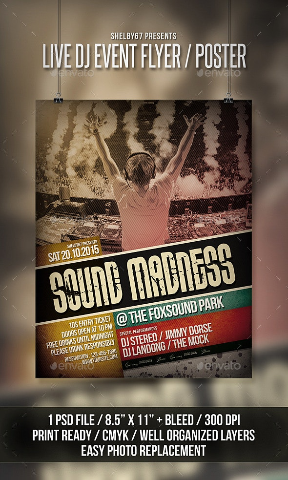 Live DJ Event Flyer / Poster - Clubs & Parties Events