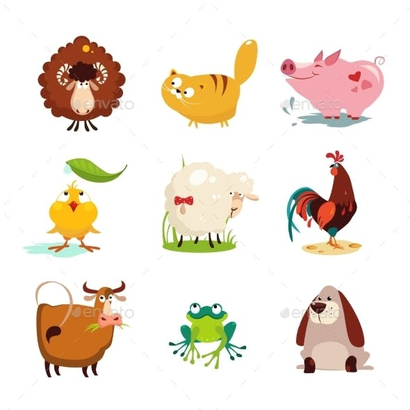 Farm Animal and Bird Collection Set