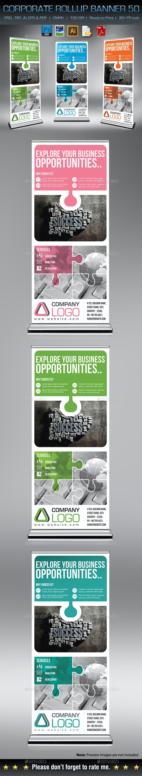 Corporate Business Rollup Banner 50 - Signage Print Templates
