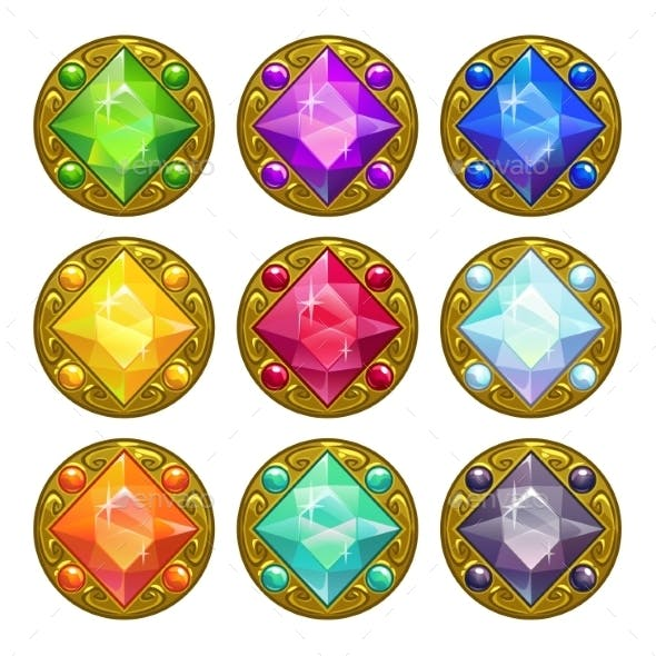 Colorful Round Golden Amulets