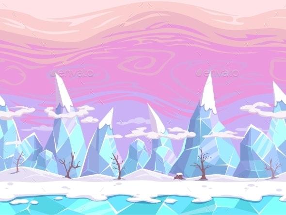 Seamless Cartoon Fantasy Landscape - Landscapes Nature