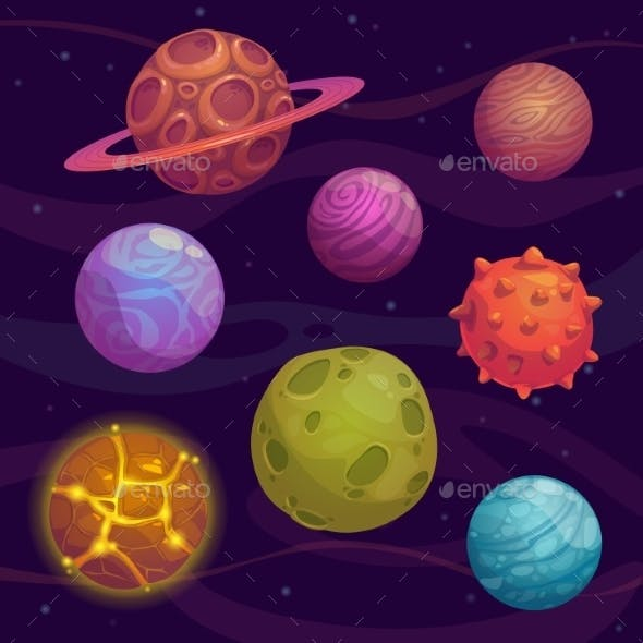 Set of Cartoon Planet