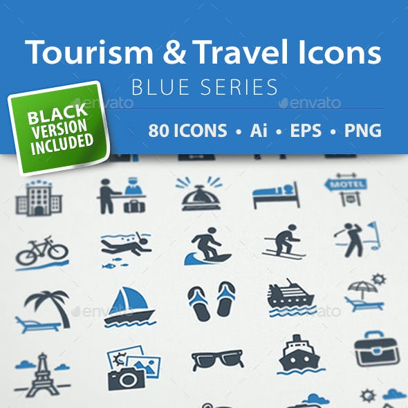Tourism & Travel Icons - Blue Series