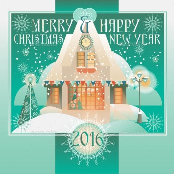 Christmas Design With House, Winter Landscape.