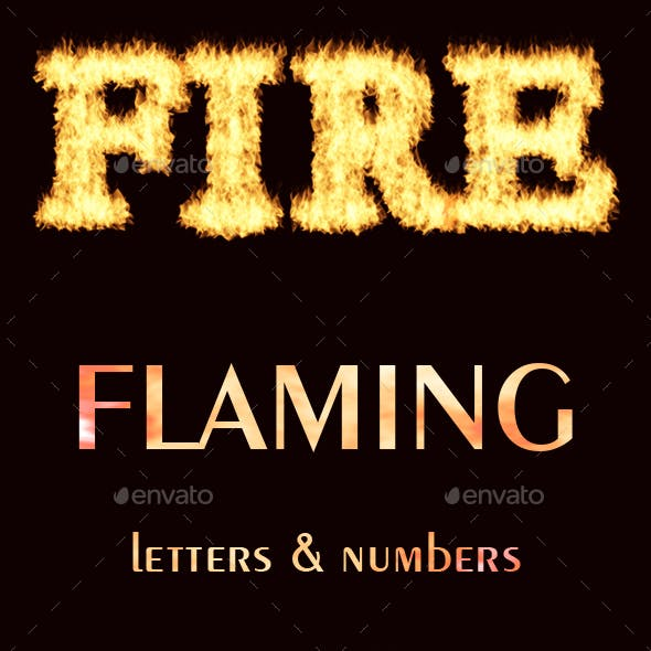 Flaming Letters and Numbers Graphic