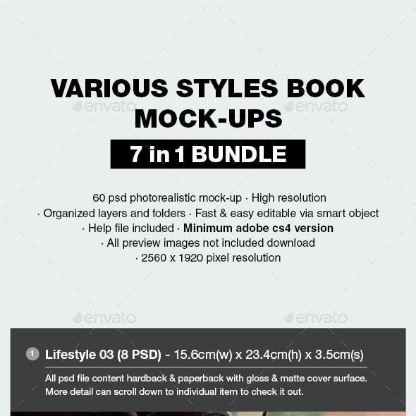 Various Styles Book Mock-up Bundle