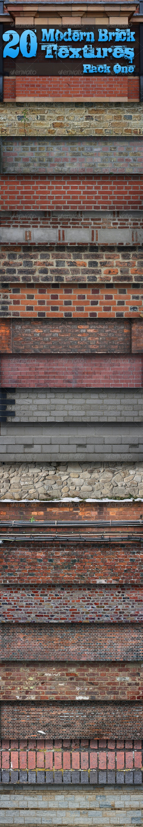 20 Modern Brick Textures - Pack One  - Miscellaneous Textures